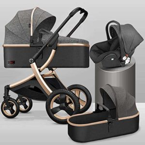 GYPPG Système de Voyage, Poussette avec siège d'auto pour bébé Embrace, Poussette pour Landau, Pliable, Gris + Or