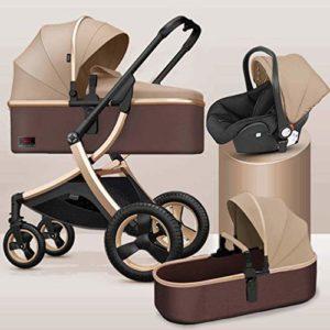 GYPPG Système de Voyage, Poussette avec siège d'auto pour bébé Embrace, Poussette pour Landau, Pliable, Kaki + Or