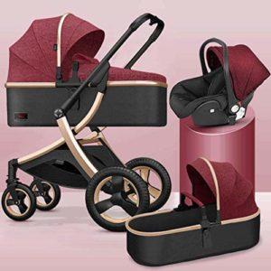 GYPPG Système de Voyage, Poussette avec siège d'auto pour bébé Embrace, système de Voyage pour Landau, Poussette, Pliable, Rouge + Or