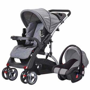 GYPPG Système de Voyage Smooth Ride, Poussette avec siège d'auto pour bébé, Poussette pour Landau, 0-36 Mois, Gris