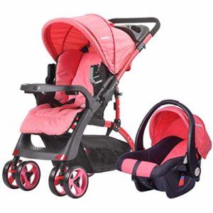 GYPPG Système de Voyage Smooth Ride, Poussette avec siège d'auto pour bébé, Poussette pour Landau, 0-36 Mois, Rouge
