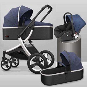 GYPPG Système de Voyage Smooth Ride, Poussette avec siège d'auto pour bébé, système de Voyage pour Landau, Poussette, Bleu + Argent