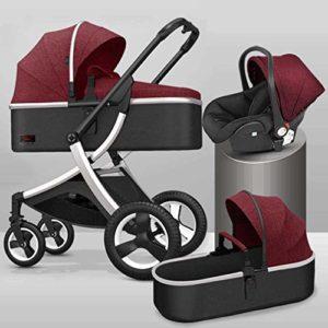 GYPPG Système de Voyage Smooth Ride, Poussette avec siège d'auto pour bébé, système de Voyage pour Landau, Poussette pour Landau, Rouge + Argent