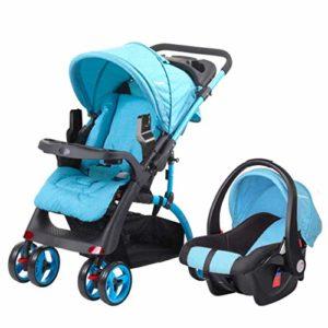 GYPPG Système de Voyage Smooth Ride, Poussette avec siège d'auto pour bébé, système de Voyage pour Landau, Poussette pour Poussette, 0-36 Mois, Bleu