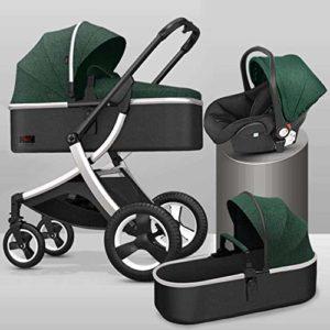 GYPPG Système de Voyage Smooth Ride, Poussette avec siège d'auto pour bébé, système de Voyage pour Landau, Poussette, Vert + Argent