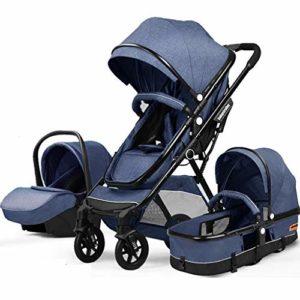 HEAYU Poussette bébé, Poussette 3 en 1 for bébé Systèmes de Voyage, Coches Para Bebes Niña, Buggy avec Mensonge Fonction, Couverture de Pluie, Petit Pliant (Color : Blue)