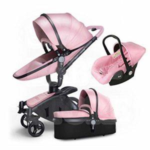 HXPH Landschaft Poussette pliante à deux voies pour bébé et poussette, alliage d'aluminium, Pink2, 80x60x112cm