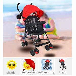 HZY Poussette Pliante Portable Ultra-Portable pour Enfants avec Poussette Bébé,Red