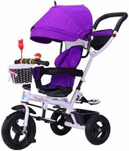 【Nouvelle mise à jour】 Poussette multifonction poussettes Trike vélo bébé Chariot avec freins et Démontable pliant Enfants de Auvent Tricycle 6 mois – de 6 ans Violet Produits for bébés Poussette élég
