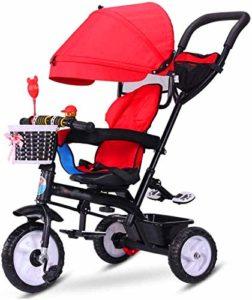 【Nouvelle mise à jour】 Poussettes multifonctions poussette Trike Bike Kids Tricycle avec harnais de sécurité et pliant bébé Démontable Auvent Chariot 6 mois – 6 ans Rouge Produits for bébés Poussette