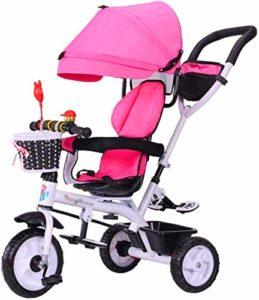 【Nouvelle mise à jour】 Tricycle poussette multifonction Poussettes Kids Trike Bike avec harnais de sécurité et pliant bébé Démontable Auvent Chariot 6 mois – 6 ans rose Produits for bébés Poussette él