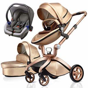 Poussette combinée bébé 3 en 1 nacelle, 2020 Fashion (Gold 3)