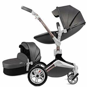 2021 New Hot Mom Poussette combinée poussette et nacelle, structure en métal argenté et nacelle en tissu – F023 (Dark Grey)