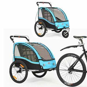 360 ° Multi-fonction Multi-fonction Bicycle Trailer 2 en 1 / poussette Deux voitures Pompe de voitures Frein à main/suspension BT503 (bleu)
