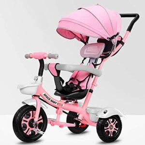 Poussette légère et compacte pour bébé – Tricycle 4 en 1 – Avec poignée réglable – Auvent amovible – Pédale verrouillable – Garde-corps amovible