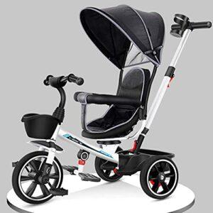 Poussette légère urbaine pour bébé, dès la naissance, tricycle 4 en 1 pour enfants avec baldaquin, siège de sécurité, panier de rangement, pédales pour enfants de 1 à 6 ans