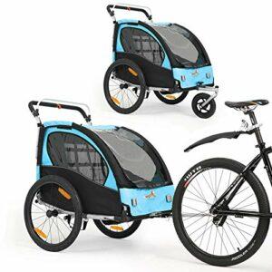 Remorque à vélo 2 en 1 Poussette biplace rotative à 360 ° avec frein de poignée et dispositif de protection des roues. Dispositif de jogging pour bébé BT502 (bleu)