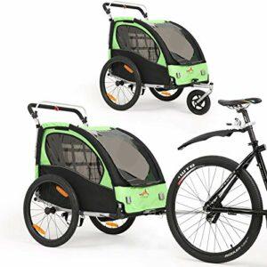 Remorque à vélo 2 en 1 Poussette biplace rotative à 360 ° avec frein de poignée et dispositif de protection des roues. Dispositif de jogging pour bébé BT502 (vert)
