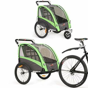 Remorque de vélo pour enfants et poussette 2 en 1 pendentif Jogger pour la remorque de vélo pour enfants avec une buggy set + suspension BT504S (vert)