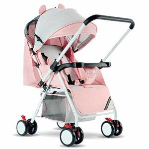 TAOBEGJ Systèmes de Voyage de Poussette 3 en 1 Poussette Buggy Bébé Enfant Poussette de Poussette en arrière ou en Avant Couvercle de Pluie Porte-Bouteille de moustiquaire Pliable,Pink