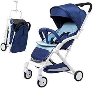 VIVOCC Poussette pour bébé léger bébé, Poussette de déplacement Pliable pour bébé avec Courroie de Transport, Dossier réglable, Support de Tasse, Panier de Stockage (Couleur : Bleu)