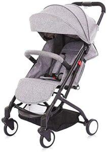 VIVOCC Poussette pour bébé léger bébé, Poussette de déplacement Pliable pour bébé avec Courroie de Transport, Dossier réglable, Support de Tasse, Panier de Stockage (Couleur : Gris)