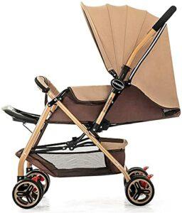 VIVOCC Poussette pour bébé léger bébé, Poussette de déplacement Pliable pour bébé avec Courroie de Transport, Dossier réglable, Support de Tasse, Panier de Stockage (Couleur : Marron)