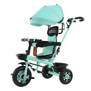 Tricycle pour enfant de 1 à 6 ans – Poussette légère – Auvent réglable – Poignée réglable – Pédale pliable – Antidérapante – Confortable et sûr – Vert